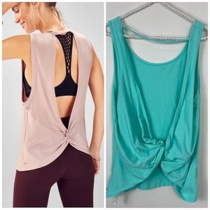 Fabletics Mint Green Lacy Open Back Tank Top XL